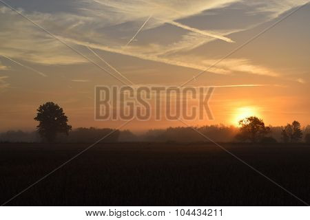 contrail filled sunrise