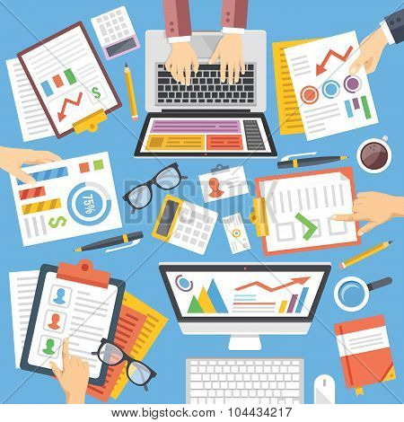 Business, strategy, planning, teamwork, analysis, consulting flat design illustration set