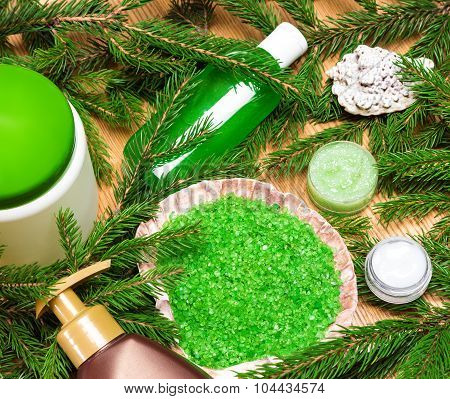 Different Natural Beauty Products With Branches Of Conifer Tree