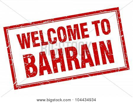 Bahrain Red Square Grunge Welcome Isolated Stamp