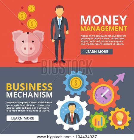 Money management, business mechanism flat illustration abstract concepts set
