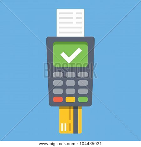 Payment terminal. Point of sale concept. Flat design vector illustration
