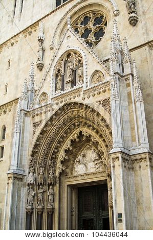 Portal of the gothic cathedral in Zagreb, Croatia