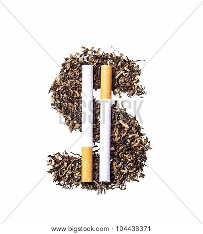 Dollar Symbol Of The Tobacco Leaves And Two Whole Cigarettes
