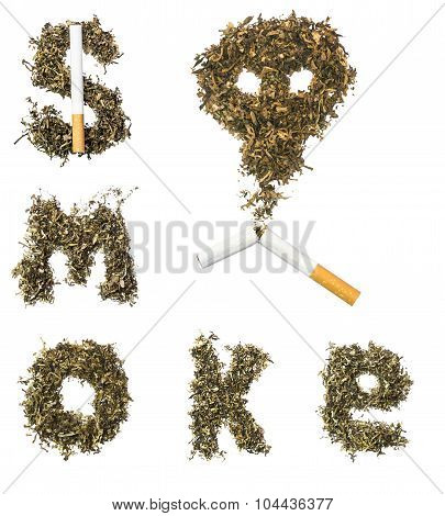 Sign Smoke Made Of Tobacco Leaves With A Broken Cigarette From Which Pours Out A Skull