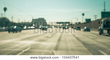 Blurred Image On The Freeway In Los Angeles, California