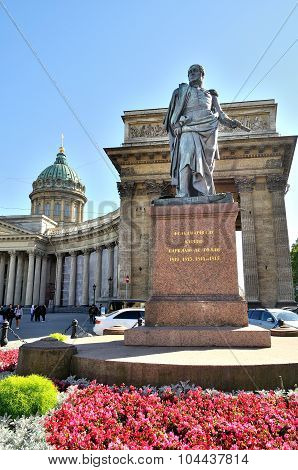 Monument To Commander Barclay De Tolly On The Background Of The Kazan Cathedral In St. Petersburg
