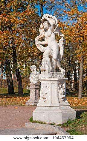 Tsarskoye Selo (Pushkin). Saint-Petersburg. Russia. The Galatea Sculpture