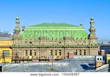 The Roof Of The St. Petersburg Theatre Of Comedy Named After N.p. Akimov On Nevsky Prospect In Saint