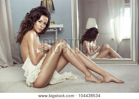 Sensual Brunette Woman Posing Naked.