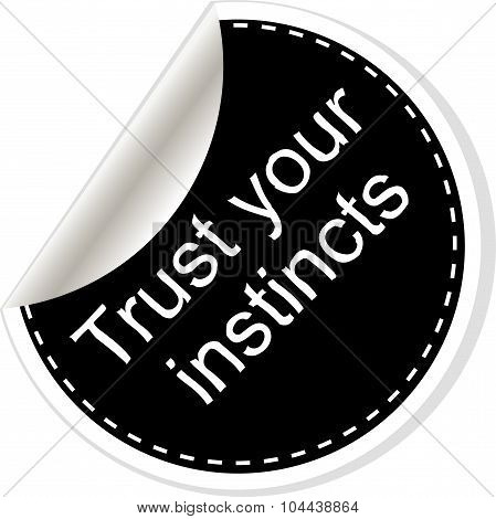 Trust Your Instincts. Inspirational Motivational Quote. Simple Trendy Design. Black And White Sticke