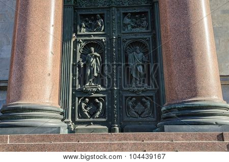 Western Doors Of St. Isaac's Cathedral In Saint-petersburg With Sculptures And Reliefs