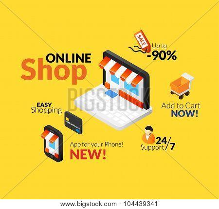 Online shopping logo set