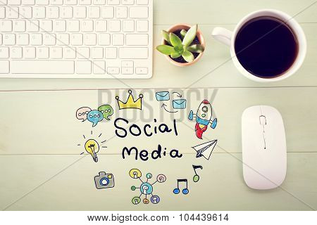 Social Media Concept With Workstation