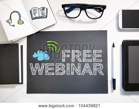 Free Webinar Concept With Black And White Workstation