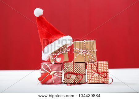 Christmas Little Gift Boxes With Santa Hats