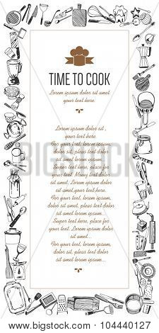 Vertical frame devoted to kitchen tools ( hand drawn style )