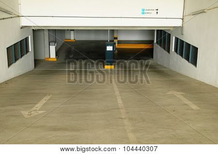 Underground garage entrance ramp