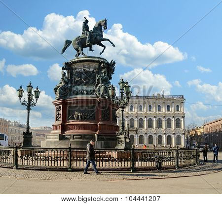 Monument To Emperor Nicholas I On St. Isaac's Square In St. Petersburg