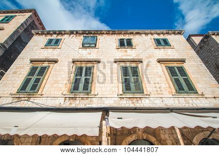 A wide angle shot of the residential houses on Stradun street in Dubrovnik, Croatia