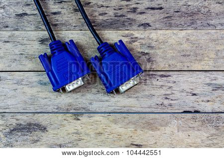 Vga Cable On Wood Background