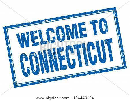 Connecticut Blue Square Grunge Welcome Isolated Stamp