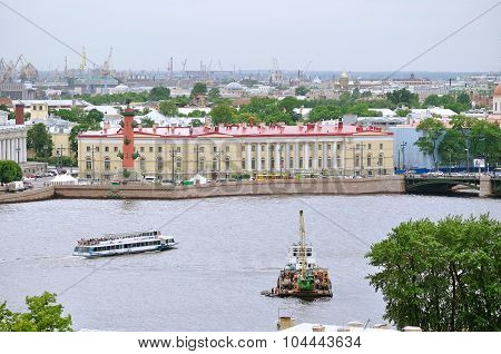 Water Area Of Neva River And Historical Bulding Of Southern Warehouse With Rostral Column  In The Ce