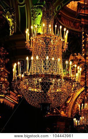 Chandelier In The Interior Of Peter And Paul Cathedral In Saint-petersburg, Russia