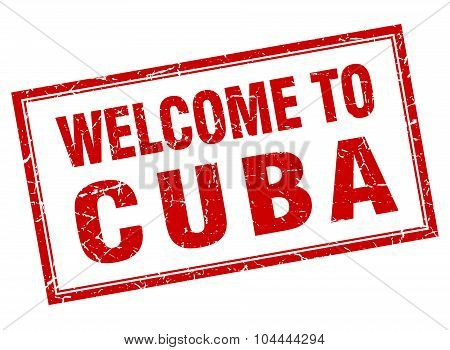 Cuba Red Square Grunge Welcome Isolated Stamp