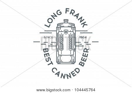 Line canned beer logo template. Stock vector.