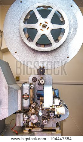 Rome, Italy - April 22 2015. Vintage Professional 16 Mm Cinema Movie Projector
