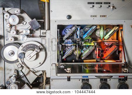 Rome, Italy - April 22 2015. ,rare Vintage Industrial Cinema 35Mm Movie Printer Detail