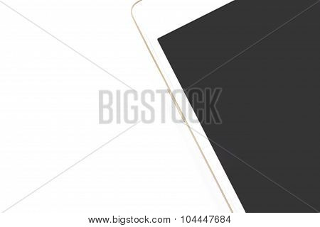 White Smart Phone On White Background, Spacing For Text Caption
