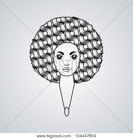 Portrait of a woman with luxuriant hair in the style of an African.  The patterns in the hair.