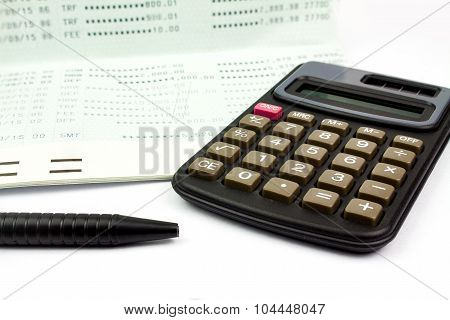Calculator And Pen And Passbook Bank On White Background, Isolated