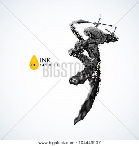 Black 3D ink or oil splash isolated on white
