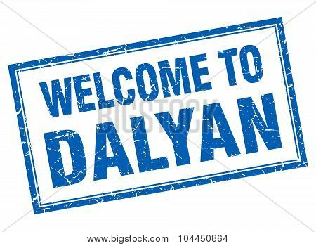 Dalyan Blue Square Grunge Welcome Isolated Stamp