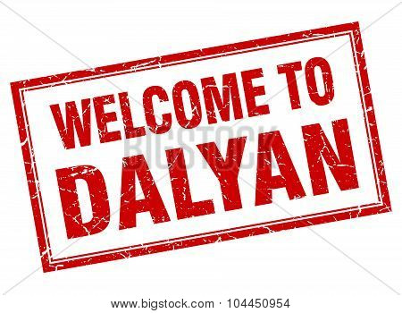 Dalyan Red Square Grunge Welcome Isolated Stamp