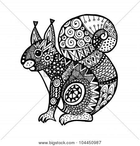 Ornamental Squirrel, Trendy Ethnic Zentangle Design, Hand Drawn, Isolated Vector