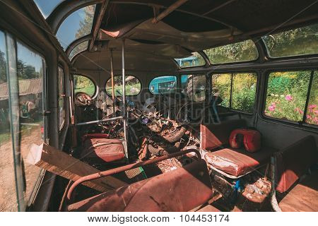 Interior of an old city transit bus.