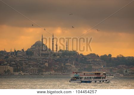 Istanbul ferry sailing in the Sea and Bosphorus