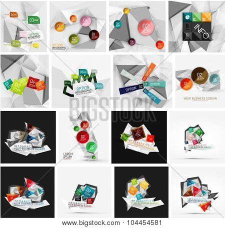 Set of abstract geometric infographic banner templates. Business presentations, backgrounds, option infographics or advertising layouts