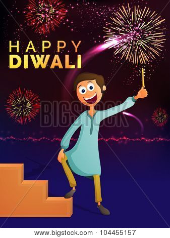 Cute happy boy enjoying firecrackers on colourful fireworks background for Indian Festival of Light, Happy Diwali celebration.