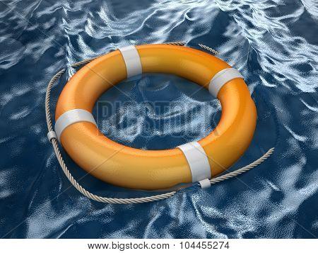 Lifebuoy In Ocean
