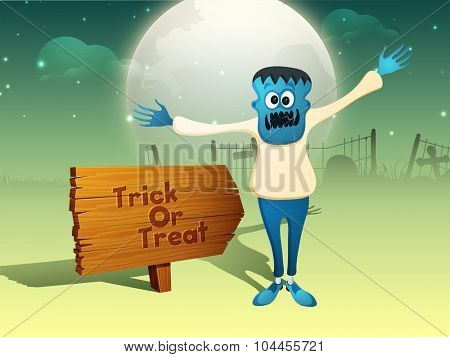 Happy Halloween, Trick or Treat party celebration with scary Zombie on horrible night background.