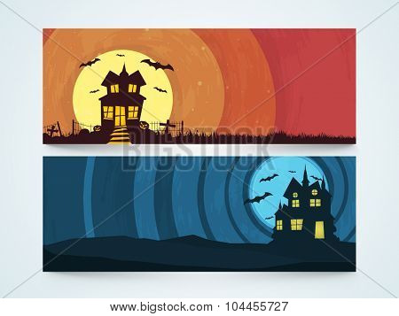 Stylish website header or banner set with scary haunted house for Happy Halloween party celebration.