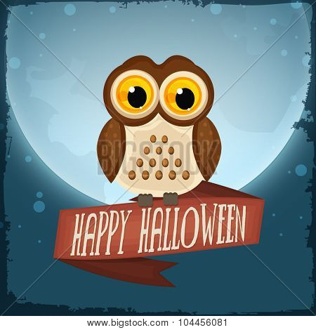 Happy Halloween Party celebration with scary owl on horrible night background.