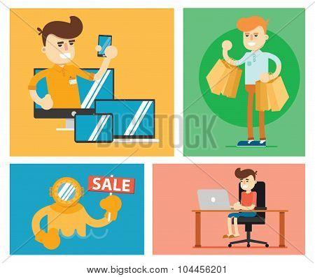 Set of discount sale illustration