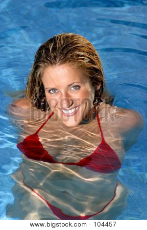 Smiling Woman In Swimsuit