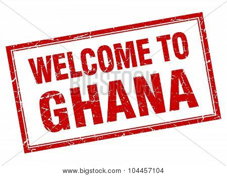 Ghana Red Square Grunge Welcome Isolated Stamp